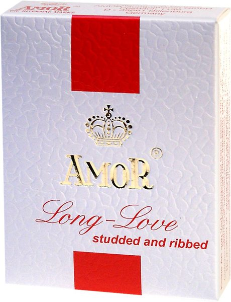 Презервативы – Amor-Long Love, nawilżane, cętk-prążk. 3шт