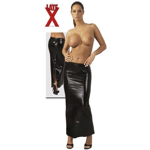 Юбка – Latex Rock lang mit Zip, черная L